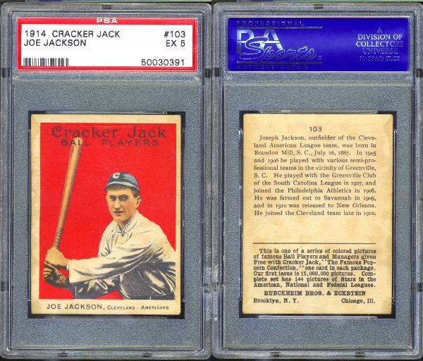 1914 Cracker Jack #103 Joe Jackson PSA 5 EX