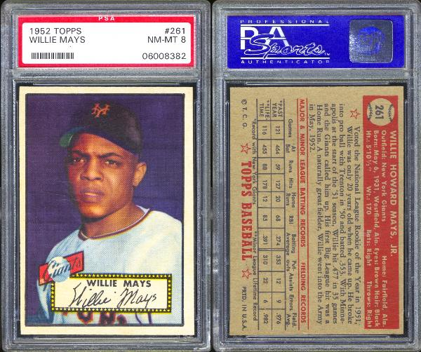 1952 Topps #261 Willie Mays PSA 8 NM-MT