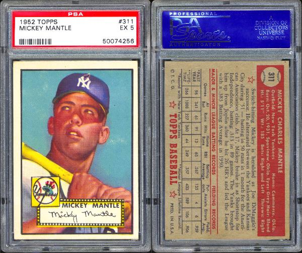 Lot Detail 1952 Topps 311 Mickey Mantle Psa 5 Ex