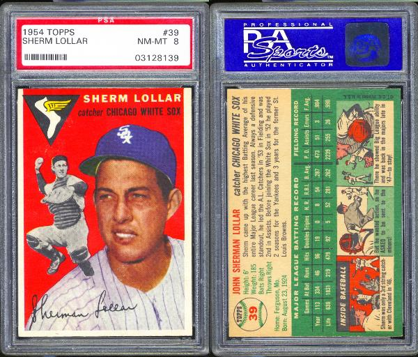 1954 Topps #39 Sherm Lollar PSA 8 NM-MT