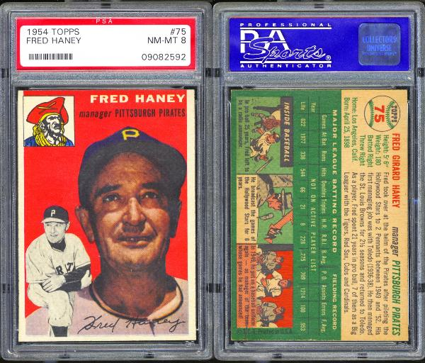 1954 Topps #75 Fred Haney PSA 8 NM-MT