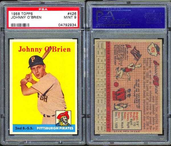 1958 Topps #426 Johnny O'Brien PSA 9 MINT