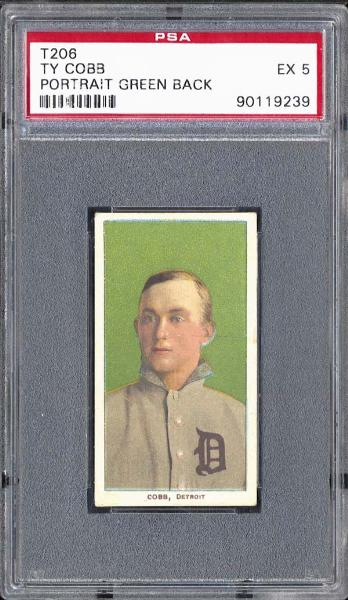 1909-11 T206 Ty Cobb Portrat Green Back PSA EX 5