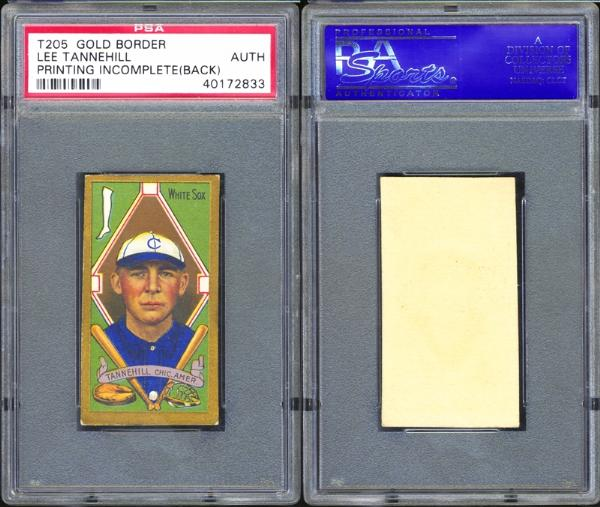 1911 T205 Gold Border Lee Tannehill Printing Incomplete (Back) PSA AUTHENTIC