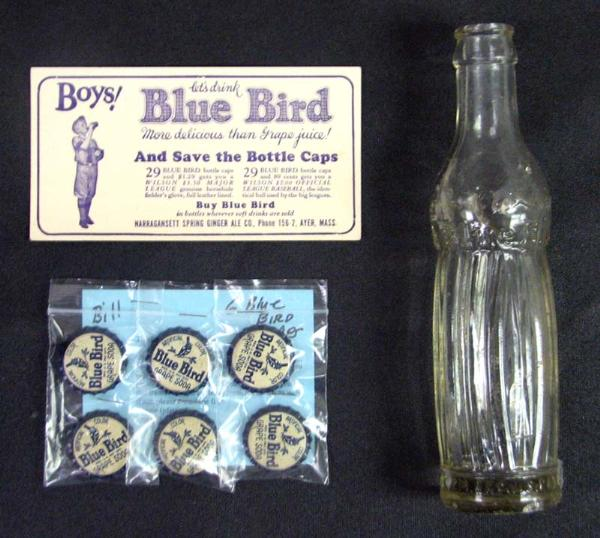 lot detail  1930s blue bird juice bottle