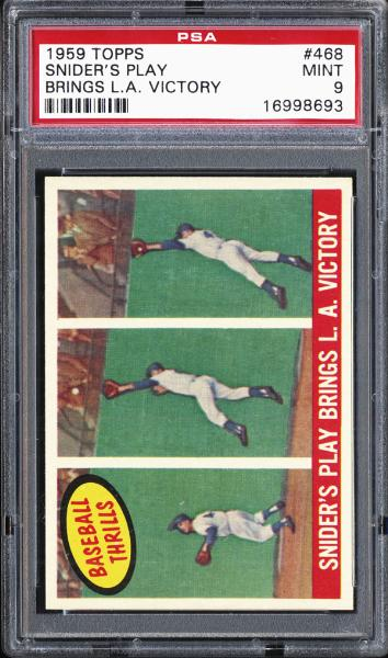 1959 Topps #468 Snider's Play Brings L.A. Victory PSA 9 MINT
