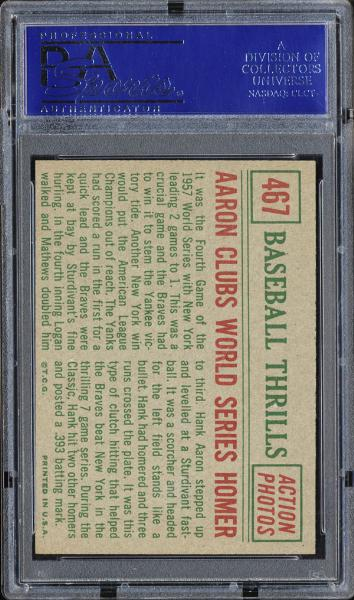 1959 Topps #467 Aaron Clubs World Series Homer PSA 9 MINT