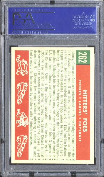 1959 Topps #262 Hitters' Foes Podres/Labine/Drysdale PSA 9 MINT