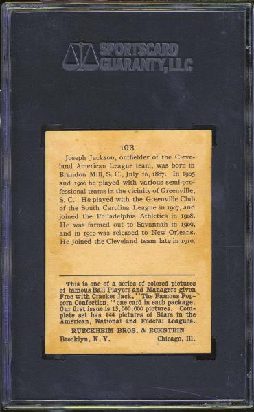 1914 Cracker Jack #103 Joe Jackson SGC 80 EX/NM 6