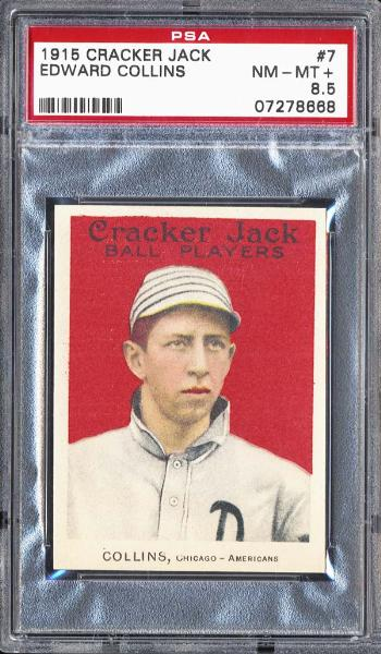 1915 Cracker Jack #7 Edward Collins PSA 8.5 NM/MT+