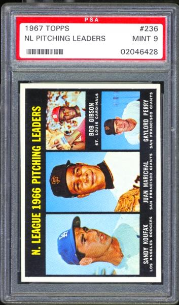 1967 Topps #236 NL Pitching Leaders PSA 9 MINT