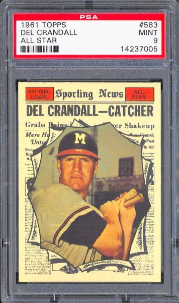 1961 Topps #583 Del Crandall All Star PSA 9 MINT
