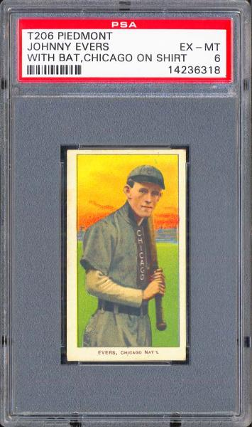 1909-11 T206 Piedmont Johnny Evers Chicago PSA 6 EX/MT