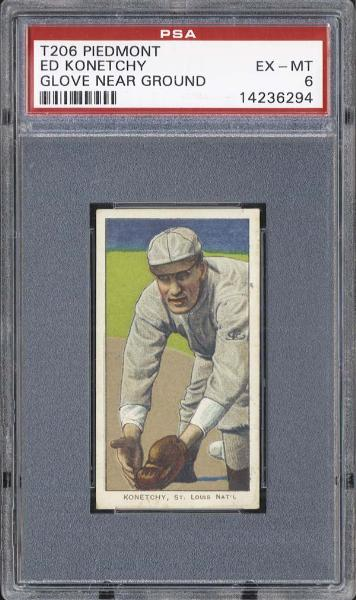 1909-11 T206 Piedmont Ed Konetchy Glove Near Ground PSA 6 EX/MT
