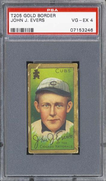 1909-11 T205 Gold Border John J. Evers PSA 4 VG/EX