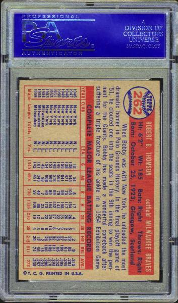 1957 Topps #262 Bobby Thompson PSA 9 MINT