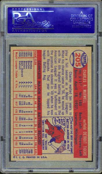 1957 Topps #205 Charley Maxwell PSA 9 MINT