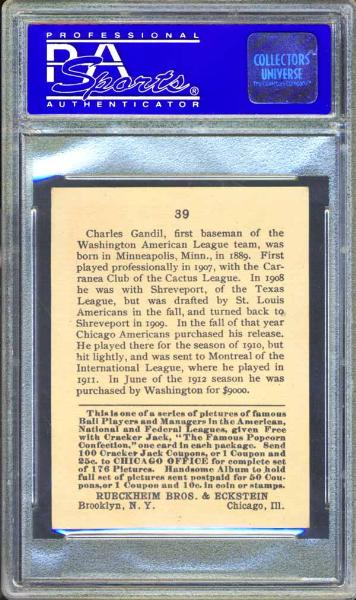 1915 Cracker Jack #39 Chick Gandil PSA 8 NM/MT