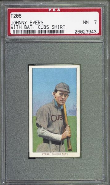 1909-11 T206 Johnny Evers With Bat, Cubs Shirt PSA 7 NM