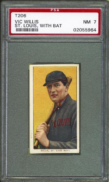 1909-11 T206 Polar Bear Vic Willis With Bat PSA 7 NM