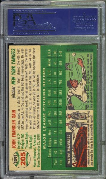 1954 Topps #205 Johnny Sain PSA 8 NM/MT