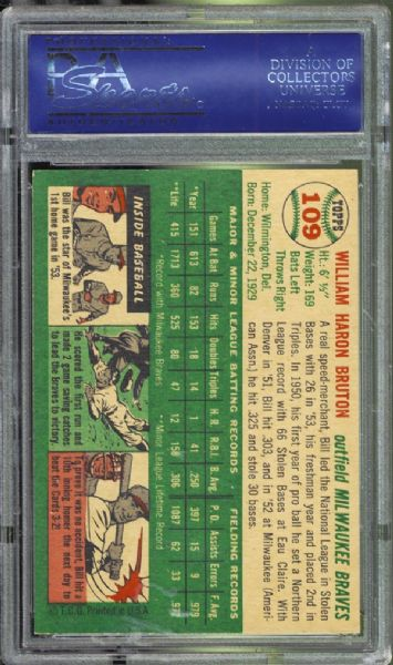 1954 Topps #109 Bill Bruton PSA 8 NM/MT