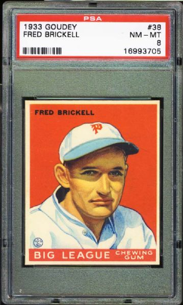 1933 Goudey #38 Fred Brickell PSA 8 NM/MT