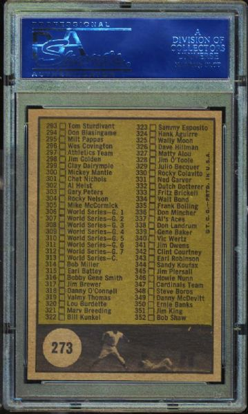 1961 Topps #273 Checklist 265-352 Copyright at #339 PSA 8 NM/MT