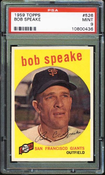 1959 Topps #526 Bob Speake PSA 9 MINT