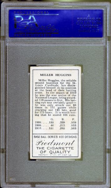 1911 T205 Gold Border Miller J. Huggins PSA 6 EX/MT