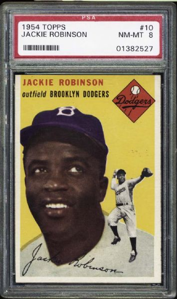 1954 Topps #10 Jackie Robinson PSA 8 NM/MT