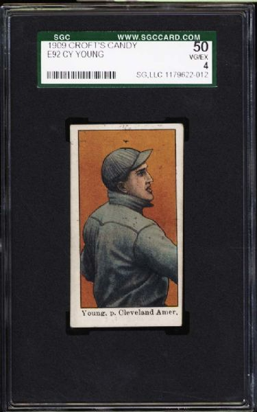 1909 E92 Croft's Candy Cy Young SGC 50 VG/EX 4
