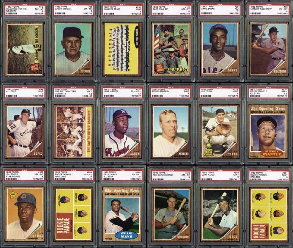 1962 Topps Complete Presentation Set with PSA Graded