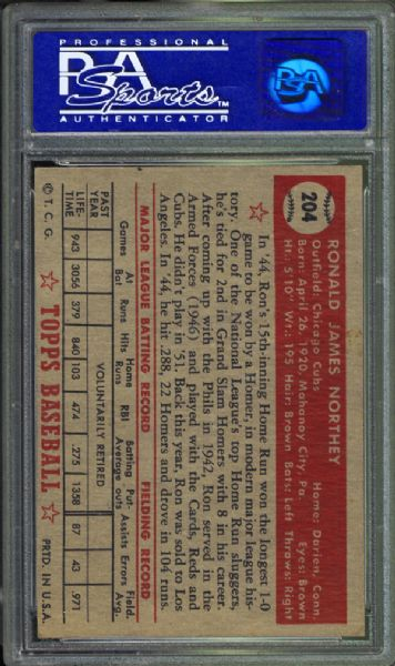 1952 Topps #204 Ron Northey PSA 8 NM/MT