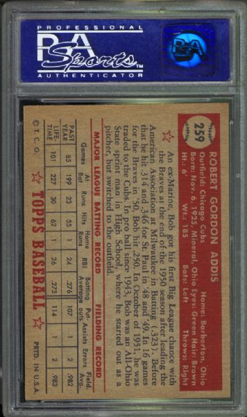 1952 Topps #259 Bob Addis PSA 8 NM?MT