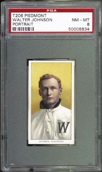 1909-11 T206 Piedmont Walter Johnson Portrait PSA 8 NM/MT