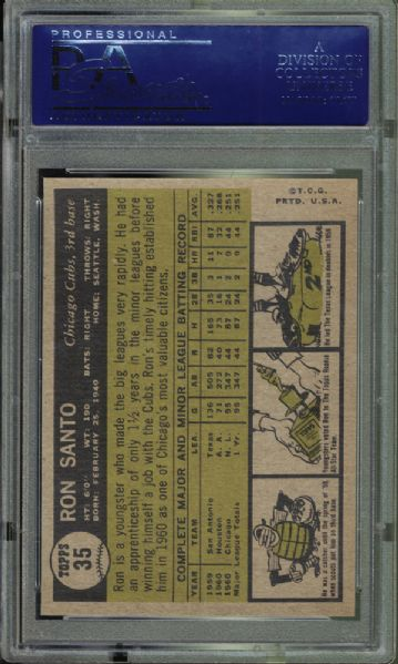 1961 Topps  #35 Ron Santo All-Star Rookie PSA 9 MINT
