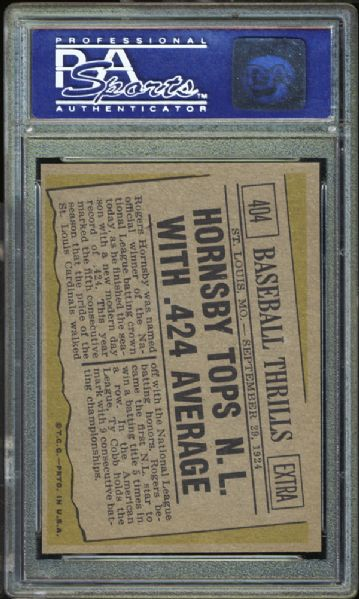1961 Topps #404 Hornsby Tops N.L. PSA 9 MINT