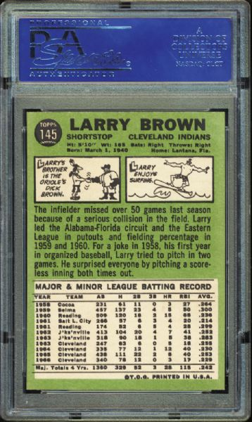 1967 Topps #145 Larry Brown PSA 9 MINT