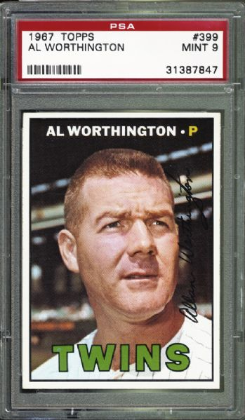 1967 Topps #399 Al Worthington PSA 9 MINT