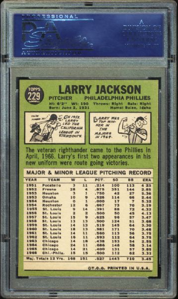 1967 Topps #229 Larry Jackson PSA 10 GEM MINT