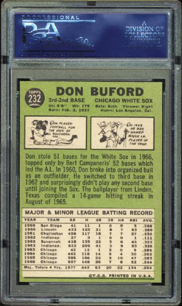 1967 Topps #232 Don Buford PSA 10 GEM MINT