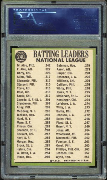 1967 Topps #240 NL Batting Leaders PSA 10 GEM MINT