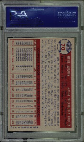 1957 Topps #70 Richie Ashburn PSA 9 MINT