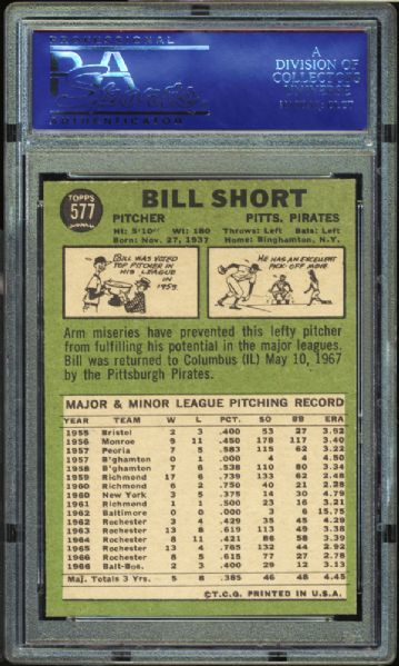 1967 Topps #577 Bill Short PSA 9 MINT