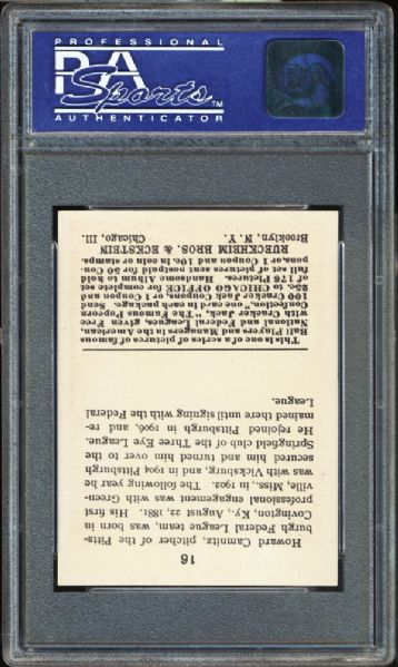 1915 Cracker Jack #16 Howie Camnitz PSA 8 NM/MT