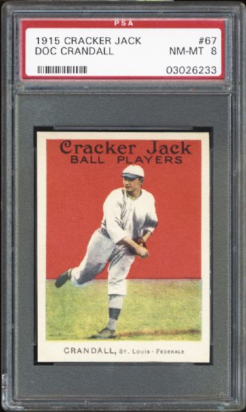 1915 Cracker Jack #67 Doc Crandall PSA 8 NM/MT