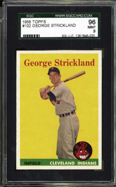 1958 Topps #102 George Strickland SGC 96 MINT 9