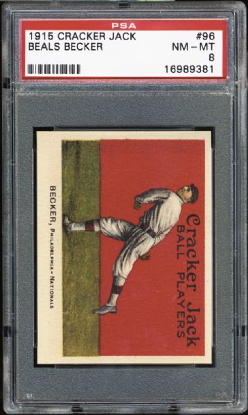 1915 Cracker Jack #96 Beals Becker PSA 8 NM/MT