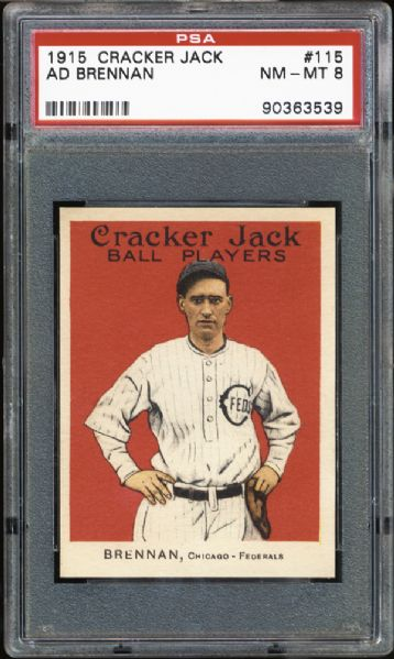 1915 Cracker Jack #115 Ad Brennan PSA 8 NM/MT